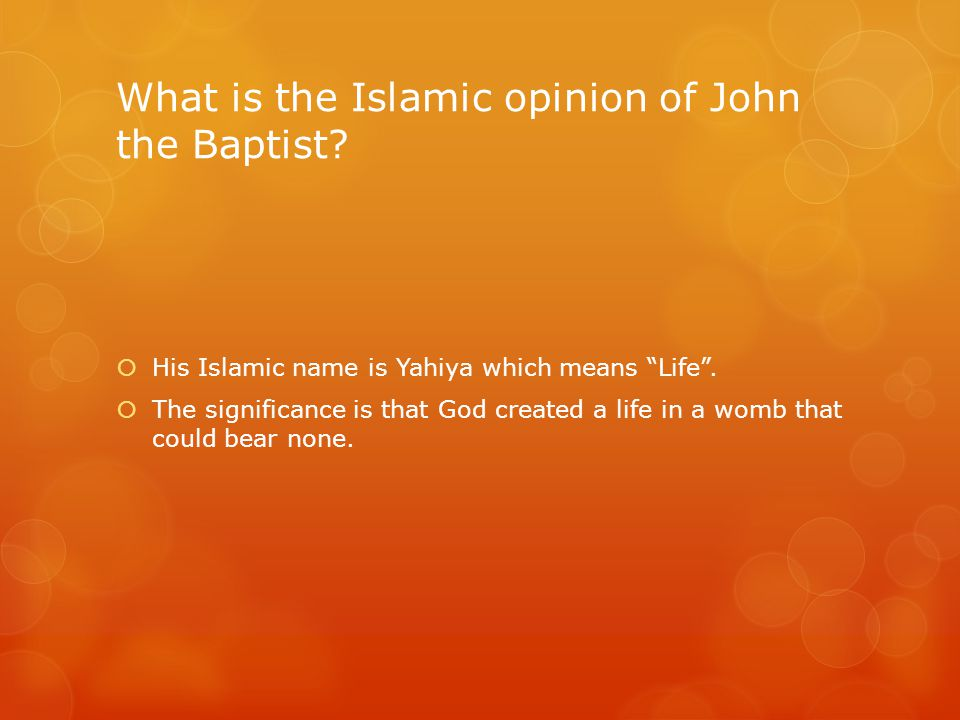 What is the Islamic opinion of John the Baptist.  His Islamic name is Yahiya which means Life .