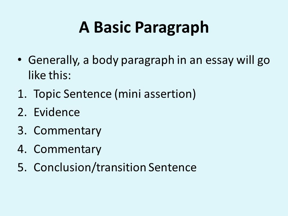 A Basic Paragraph Generally, a body paragraph in an essay will go like this: 1.Topic Sentence (mini assertion) 2.Evidence 3.Commentary 4.Commentary 5.