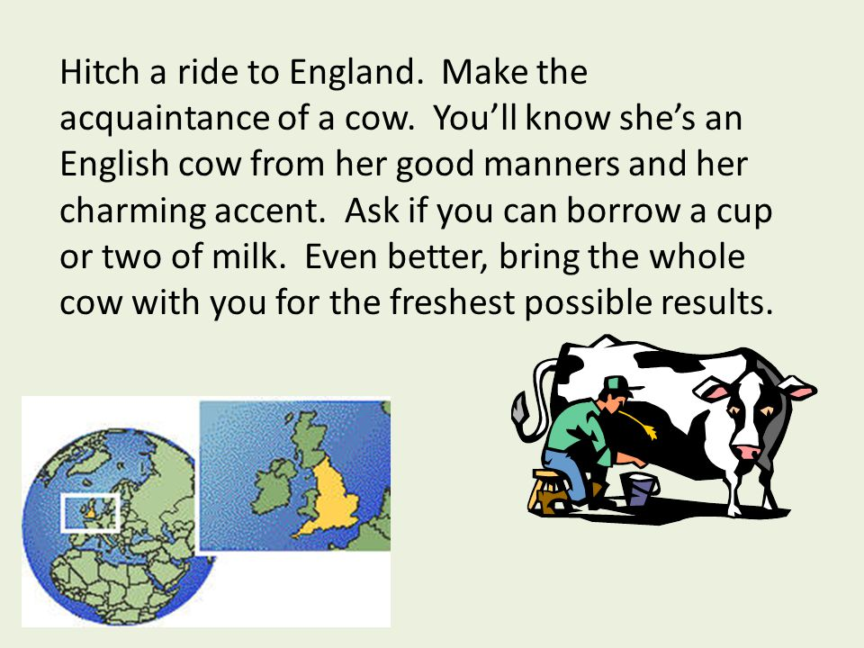 Hitch a ride to England. Make the acquaintance of a cow.
