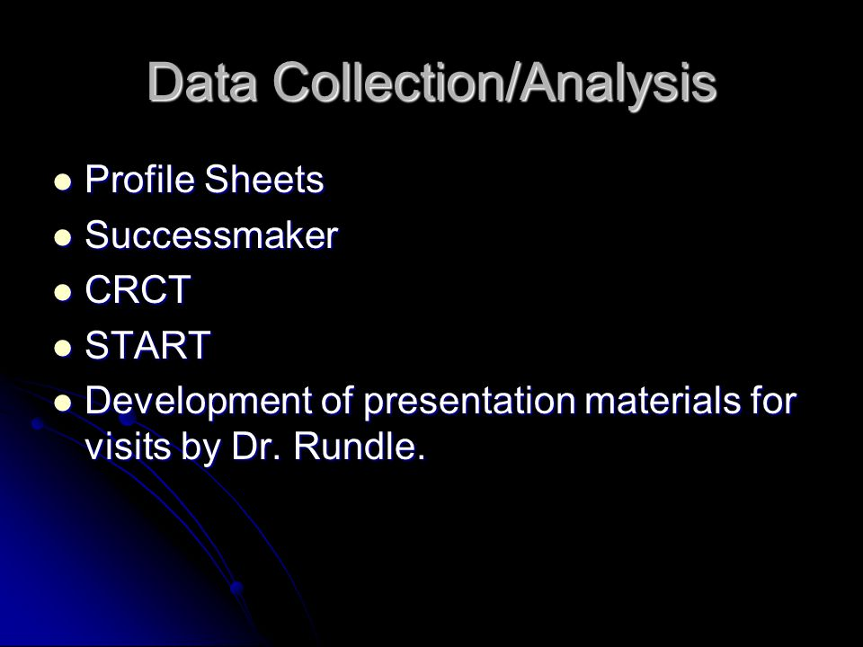 Data Collection/Analysis Profile Sheets Profile Sheets Successmaker Successmaker CRCT CRCT START START Development of presentation materials for visits by Dr.