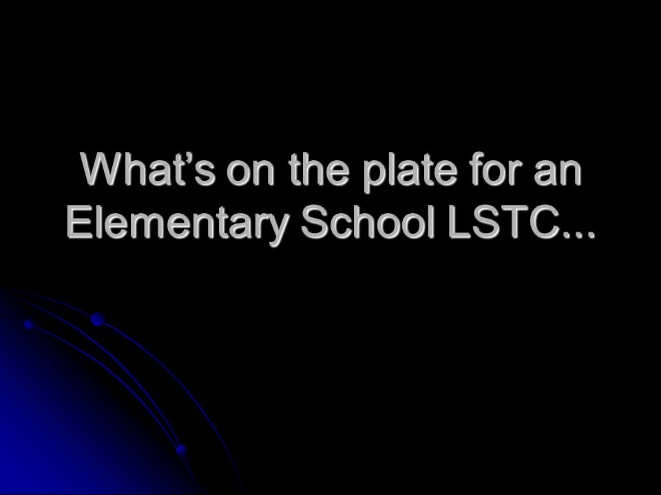 What's on the plate for an Elementary School LSTC...