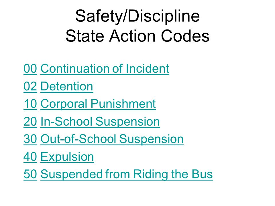 Safety/Discipline State Action Codes 0000 Continuation of IncidentContinuation of Incident 0202 DetentionDetention 1010 Corporal PunishmentCorporal Punishment 2020 In-School SuspensionIn-School Suspension 3030 Out-of-School SuspensionOut-of-School Suspension 4040 ExpulsionExpulsion 5050 Suspended from Riding the BusSuspended from Riding the Bus