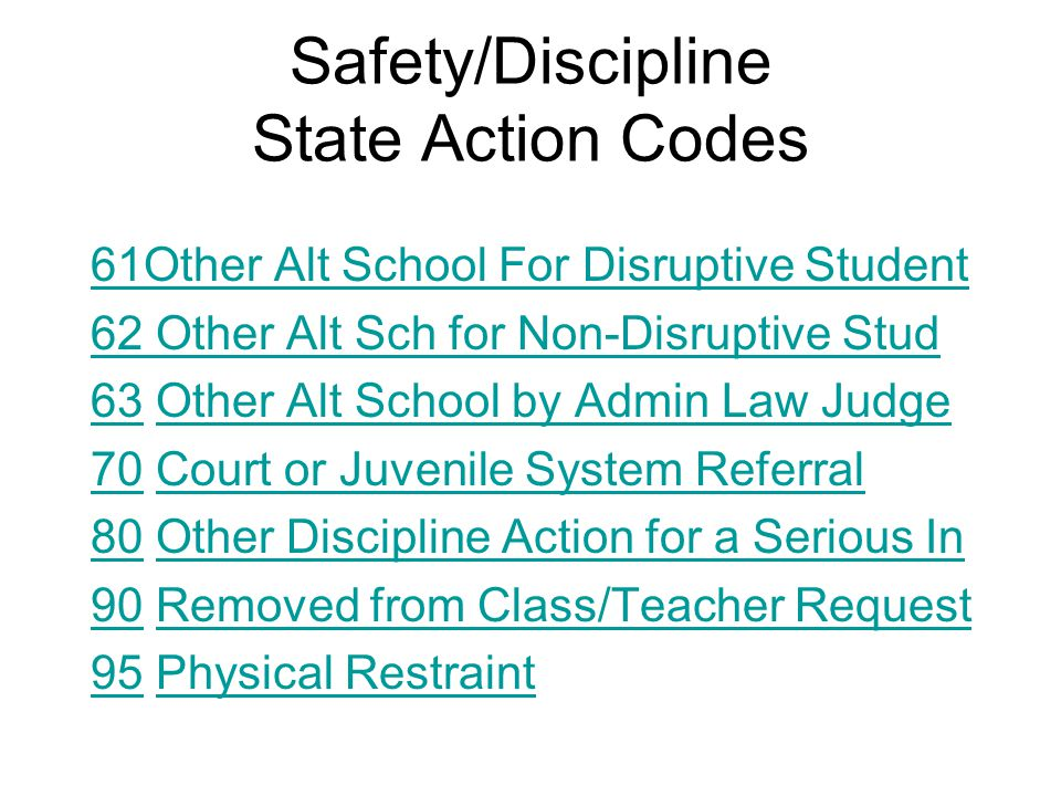 Safety/Discipline State Action Codes 61Other Alt School For Disruptive Student 62 Other Alt Sch for Non-Disruptive Stud 6363 Other Alt School by Admin Law JudgeOther Alt School by Admin Law Judge 7070 Court or Juvenile System ReferralCourt or Juvenile System Referral 8080 Other Discipline Action for a Serious InOther Discipline Action for a Serious In 9090 Removed from Class/Teacher RequestRemoved from Class/Teacher Request 9595 Physical RestraintPhysical Restraint