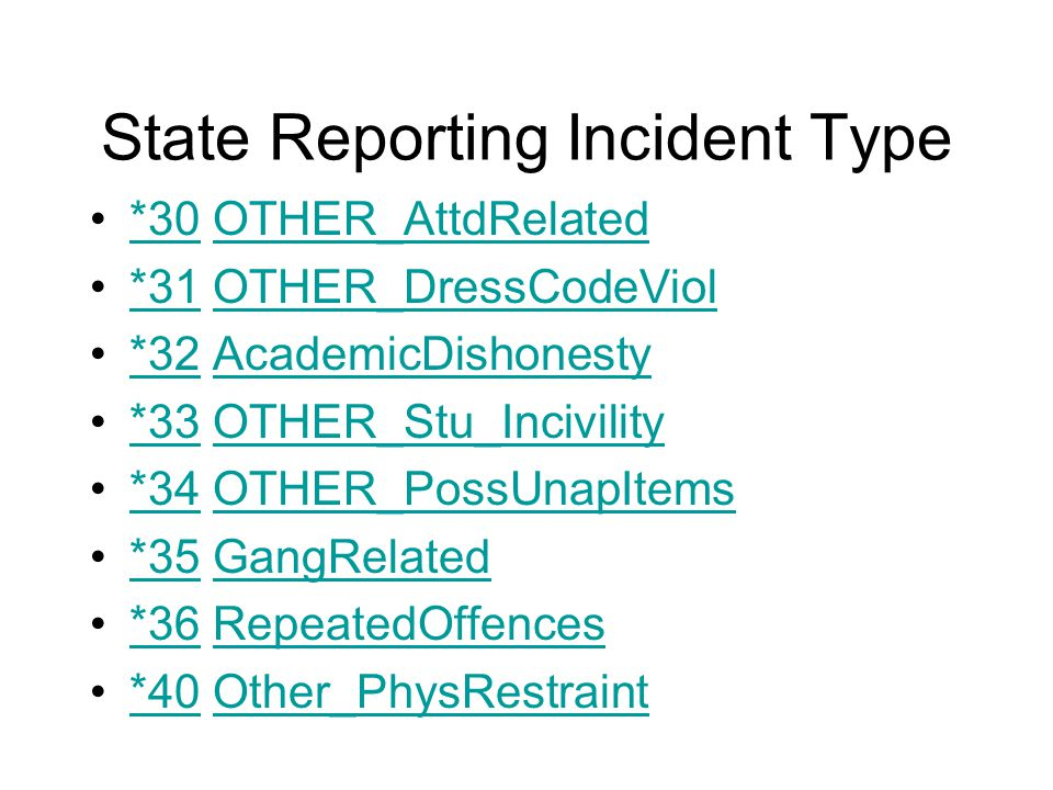State Reporting Incident Type *30 OTHER_AttdRelated*30OTHER_AttdRelated *31 OTHER_DressCodeViol*31OTHER_DressCodeViol *32 AcademicDishonesty*32AcademicDishonesty *33 OTHER_Stu_Incivility*33OTHER_Stu_Incivility *34 OTHER_PossUnapItems*34OTHER_PossUnapItems *35 GangRelated*35GangRelated *36 RepeatedOffences*36RepeatedOffences *40 Other_PhysRestraint*40Other_PhysRestraint