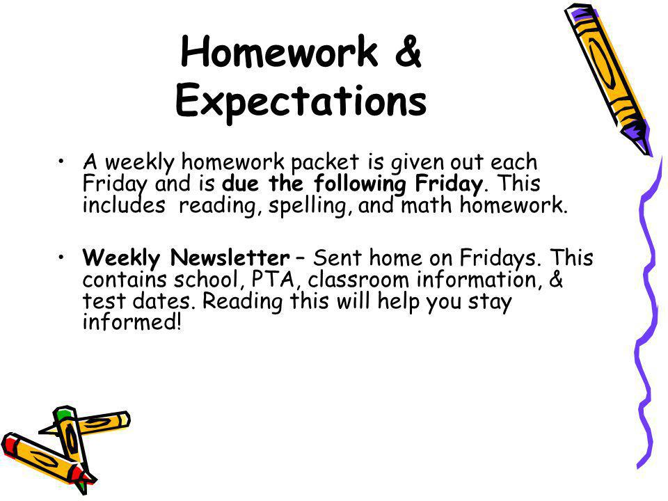 Homework & Expectations A weekly homework packet is given out each Friday and is due the following Friday.