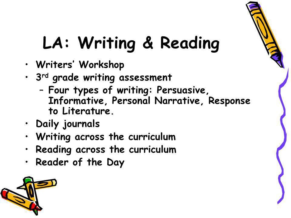 LA: Writing & Reading Writers' Workshop 3 rd grade writing assessment –Four types of writing: Persuasive, Informative, Personal Narrative, Response to Literature.
