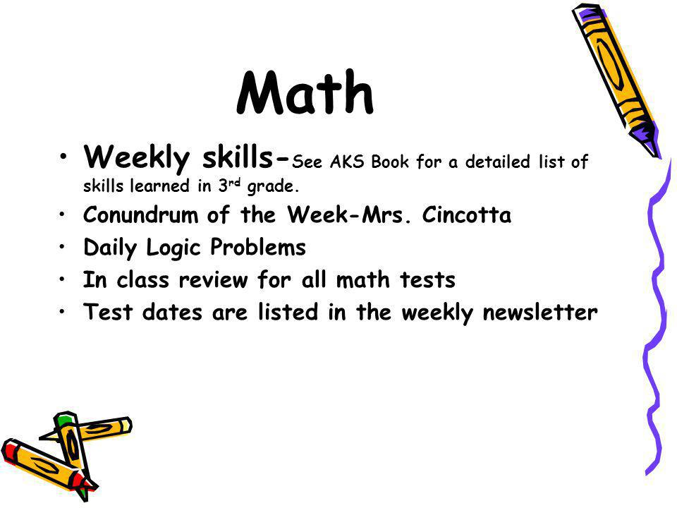 Math Weekly skills- See AKS Book for a detailed list of skills learned in 3 rd grade.