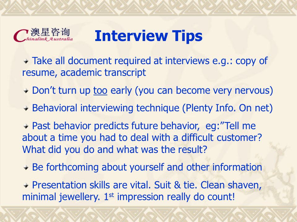 Job Hunting Tips Job-Hunting could be Lengthy process (150-300) Extremely competitive in graduate market Get foot in the door, can't be too fussy Target companies – voluntary work experience Your first job is not going to be your dream job Need to start somewhere to do interns Every bit of experience helps Internship can lead you to the dream jobs