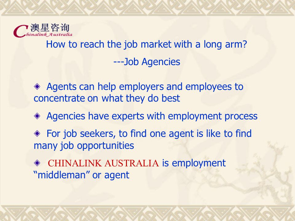 Education, Migration, Business, Employment www.chinalink.com.au 就业咨询顾问 RCSA12623 注册移民代理 0005485 The Consulting Arm of Austar International Graduate Students's Employment Path October 2004 Level 9, 416 Collins Street, Melbourne, Australia