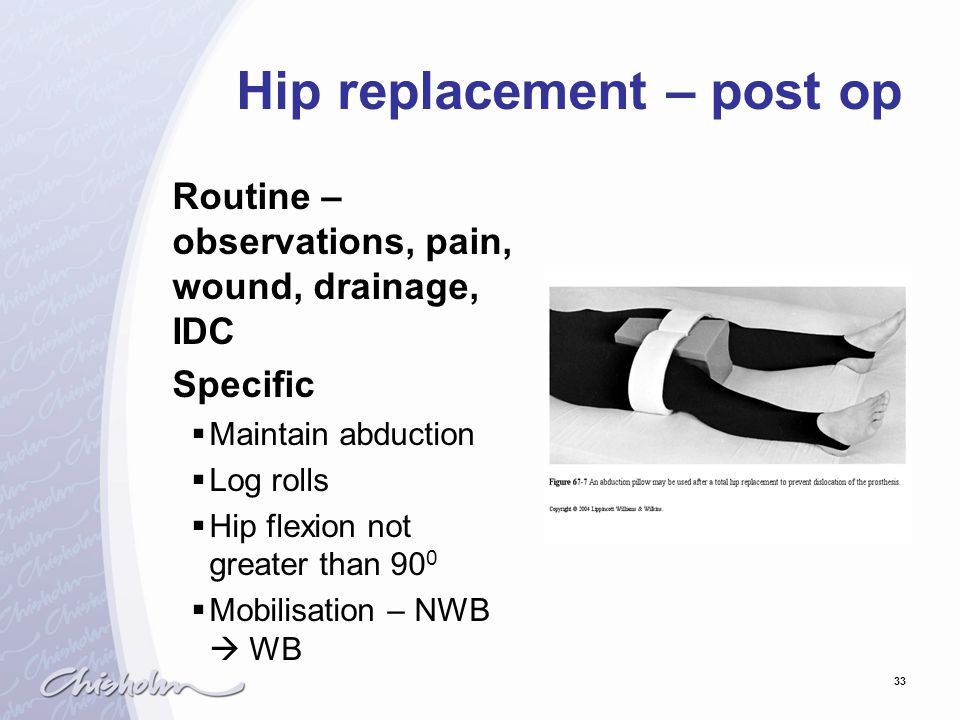 33 Hip replacement – post op Routine – observations, pain, wound, drainage, IDC Specific  Maintain abduction  Log rolls  Hip flexion not greater th