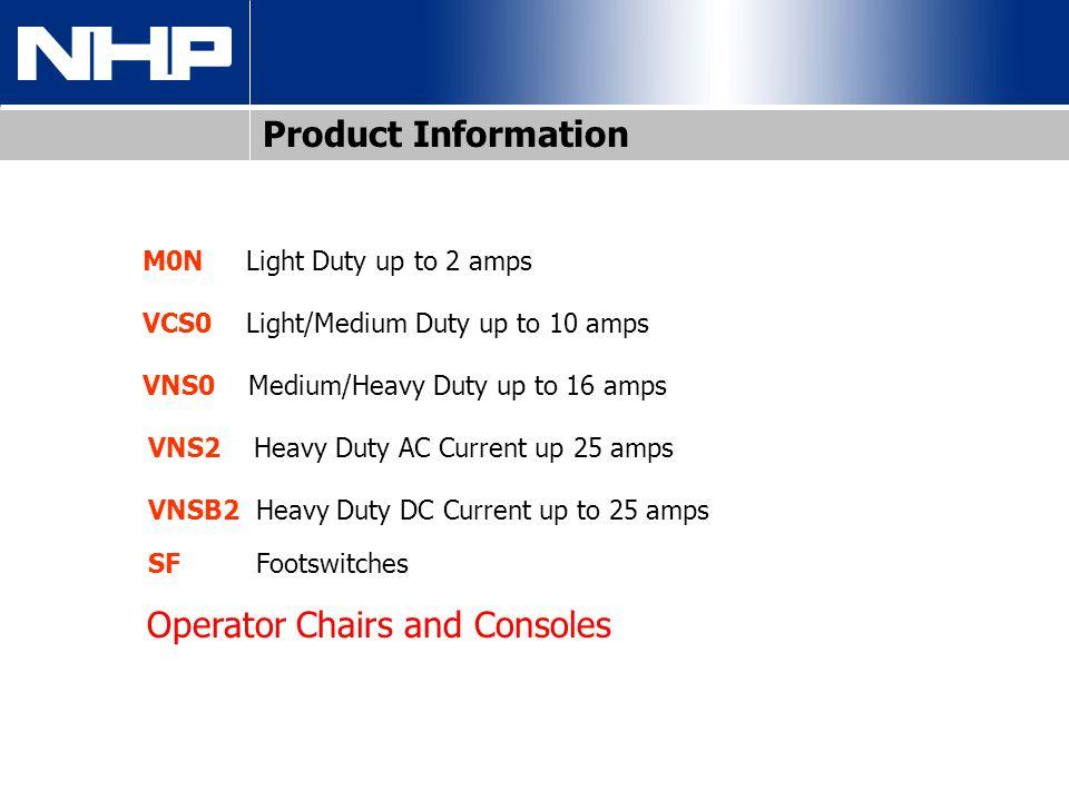 M0N Light Duty up to 2 amps VCS0 Light/Medium Duty up to 10 amps VNS0 Medium/Heavy Duty up to 16 amps VNS2 Heavy Duty AC Current up 25 amps VNSB2 Heav