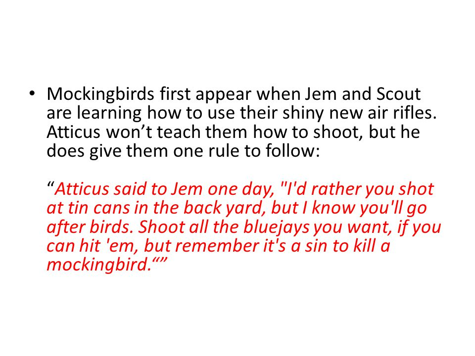 Mockingbirds first appear when Jem and Scout are learning how to use their shiny new air rifles. Atticus won't teach them how to shoot, but he does gi