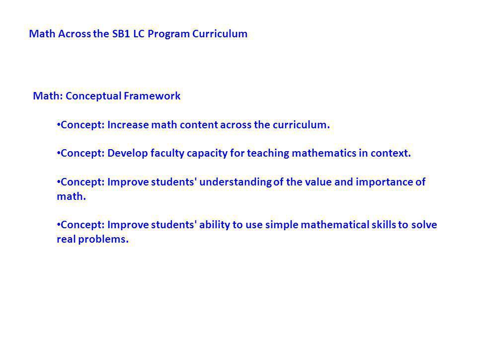 Math: Conceptual Framework Concept: Increase math content across the curriculum.
