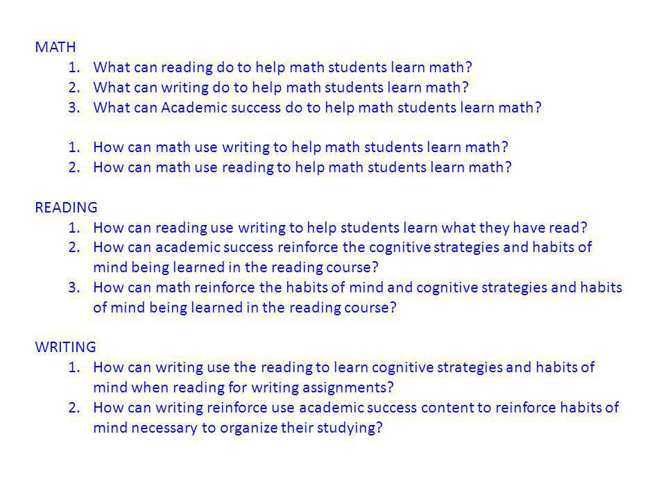 MATH 1.What can reading do to help math students learn math.