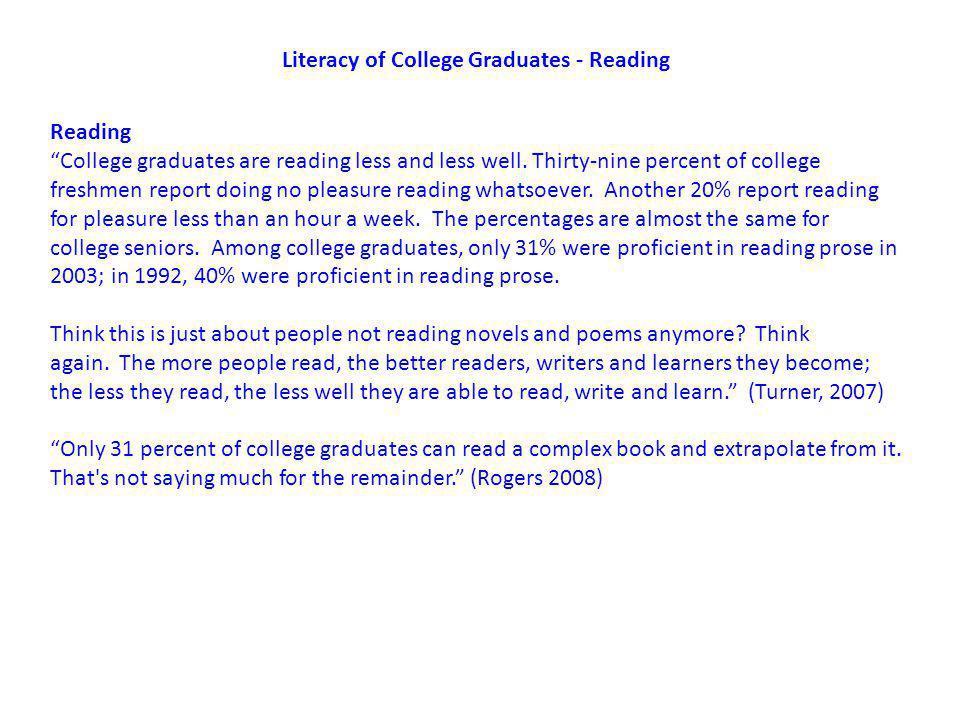 Literacy of College Graduates - Reading Reading College graduates are reading less and less well.