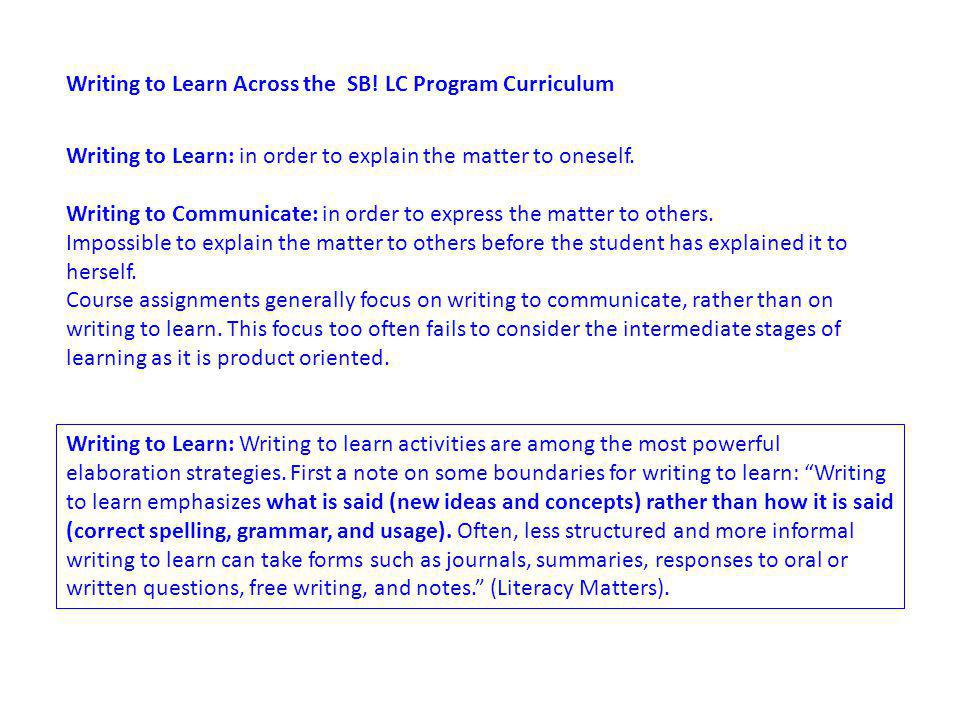 Writing to Learn Across the SB.