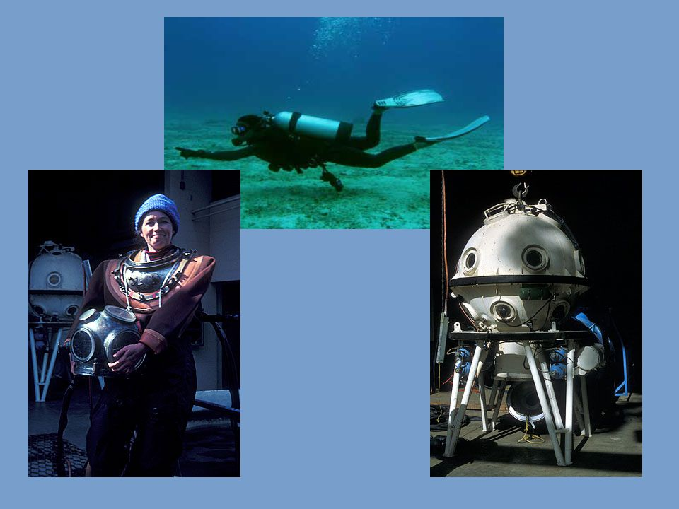 Submersibles are built like small submarines take marine scientists to even deeper depths keeps the divers at one atmosphere pressure to avoid complications associated with scuba, helmets and bells.