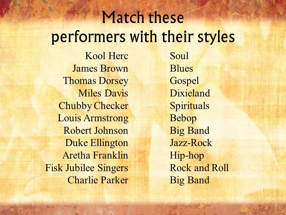 Match these performers with their styles Kool Herc James Brown Thomas Dorsey Miles Davis Chubby Checker Louis Armstrong Robert Johnson Duke Ellington