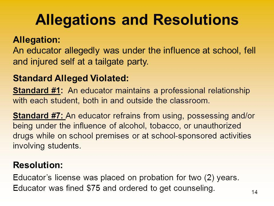Allegations and Resolutions 14 Allegation: Standard Alleged Violated: Resolution: An educator allegedly was under the influence at school, fell and injured self at a tailgate party.