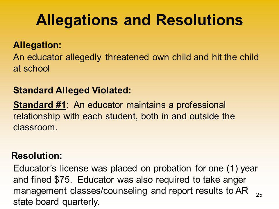 Allegations and Resolutions 25 Allegation: Standard Alleged Violated: Resolution: An educator allegedly threatened own child and hit the child at school Educator's license was placed on probation for one (1) year and fined $75.