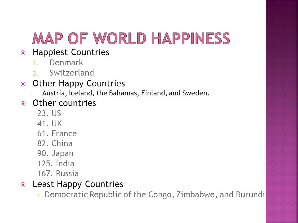  Happiest Countries 1. Denmark 2. Switzerland  Other Happy Countries  Austria, Iceland, the Bahamas, Finland, and Sweden.  Other countries 23. US