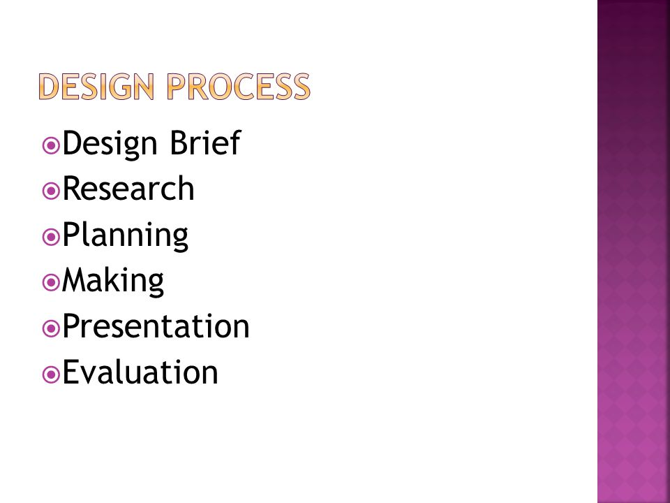  Design Brief  Research  Planning  Making  Presentation  Evaluation