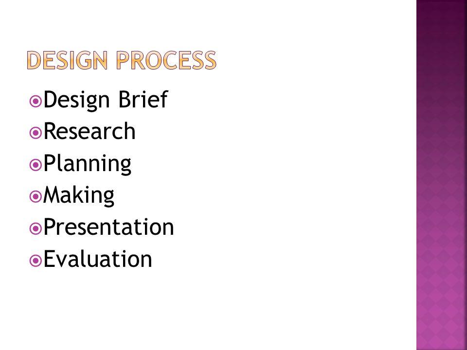  Design Brief  Research  Planning  Making  Presentation  Evaluation