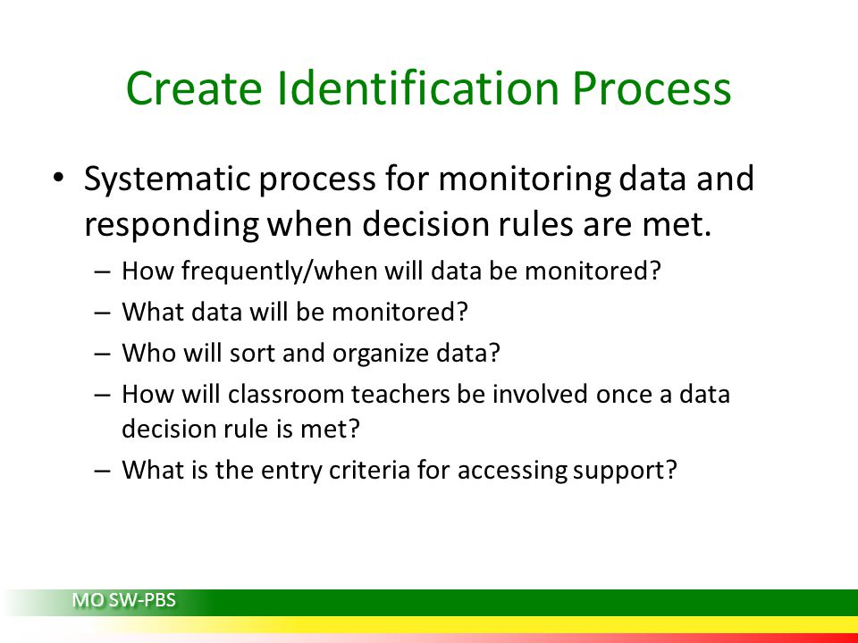 Systematic process for monitoring data and responding when decision rules are met. – How frequently/when will data be monitored? – What data will be m