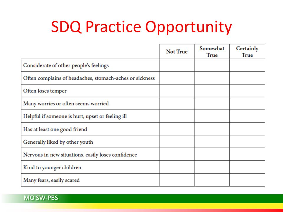 SDQ Practice Opportunity MO SW-PBS