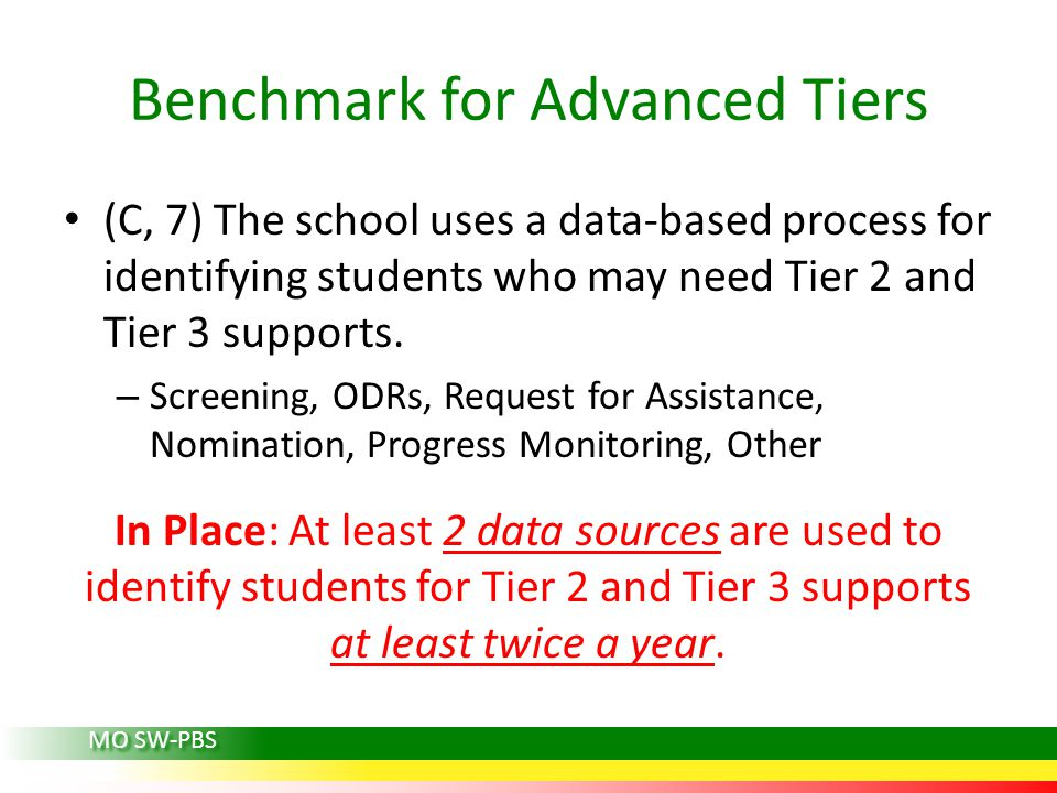Benchmark for Advanced Tiers (C, 7) The school uses a data-based process for identifying students who may need Tier 2 and Tier 3 supports.