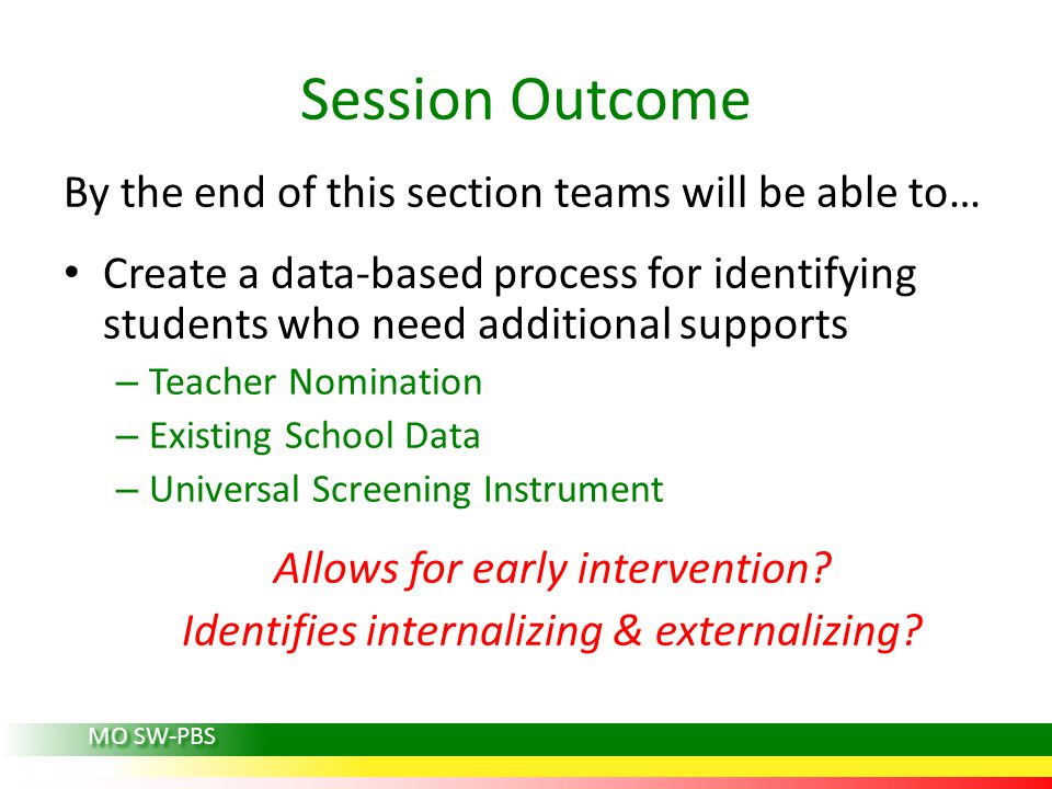 Session Outcome By the end of this section teams will be able to… Create a data-based process for identifying students who need additional supports –