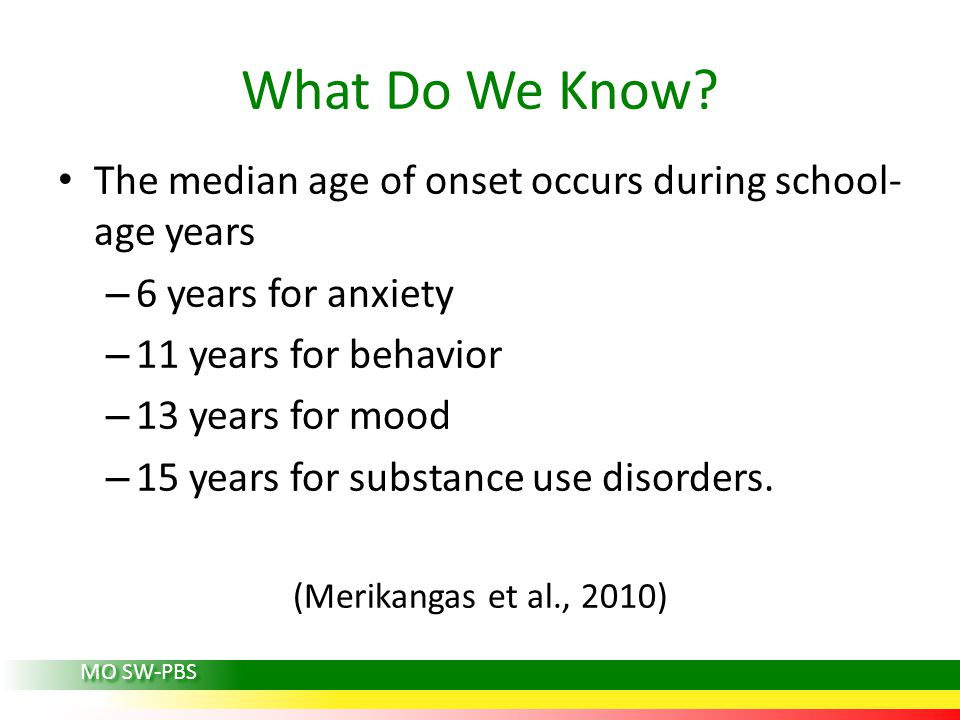 What Do We Know? The median age of onset occurs during school- age years – 6 years for anxiety – 11 years for behavior – 13 years for mood – 15 years