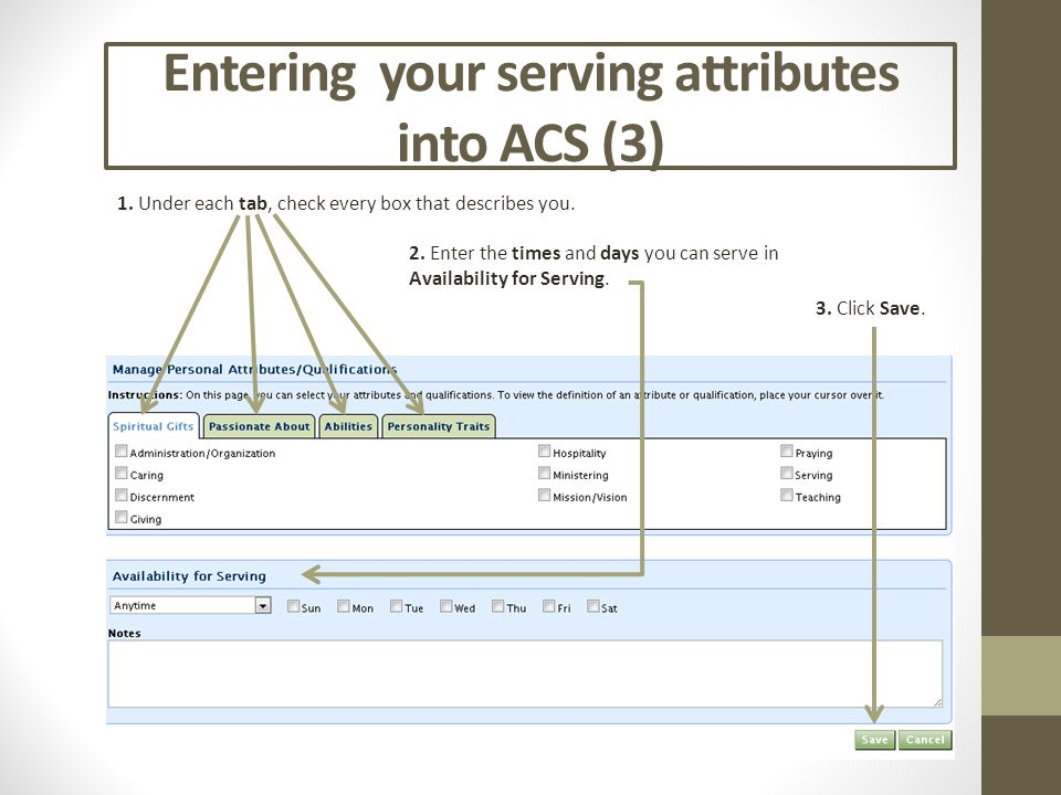 Entering your serving attributes into ACS (3) 2. Enter the times and days you can serve in Availability for Serving. 1. Under each tab, check every bo