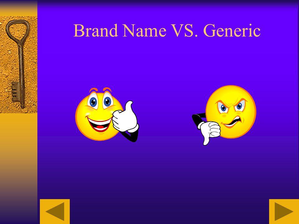Brand Name VS. Generic