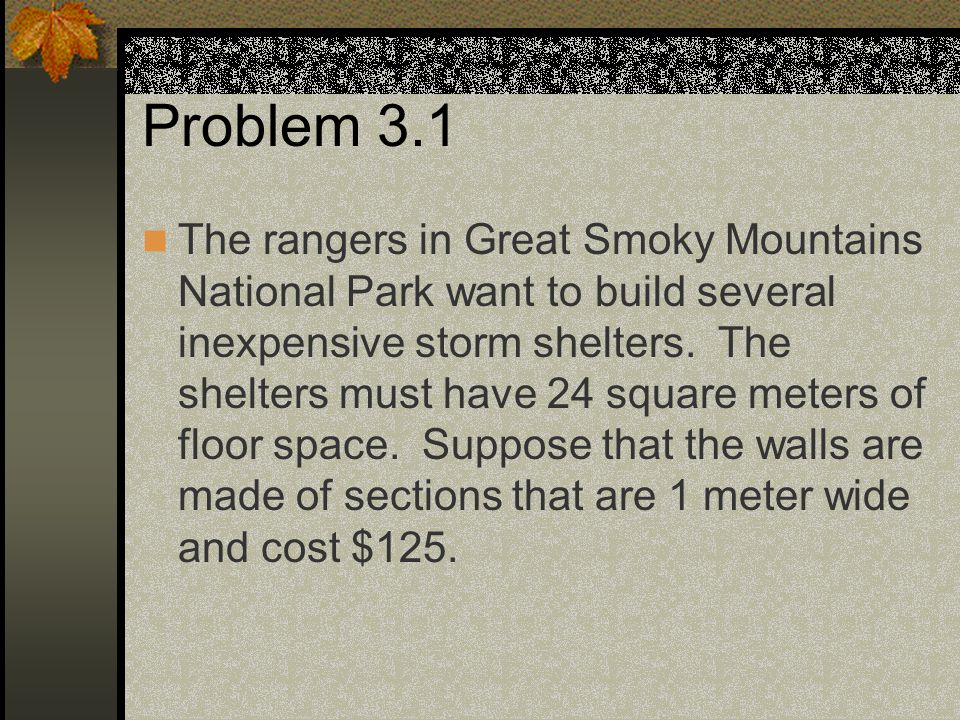 The rangers in Great Smoky Mountains National Park want to build several inexpensive storm shelters. The shelters must have 24 square meters of floor