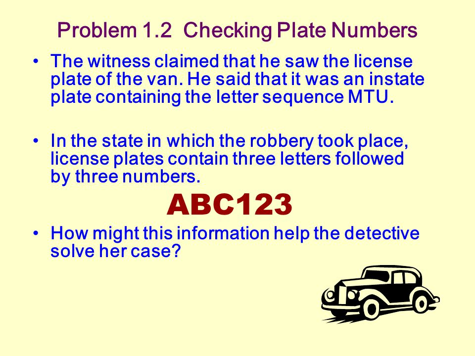 Problem 1.2 Checking Plate Numbers The witness claimed that he saw the license plate of the van.