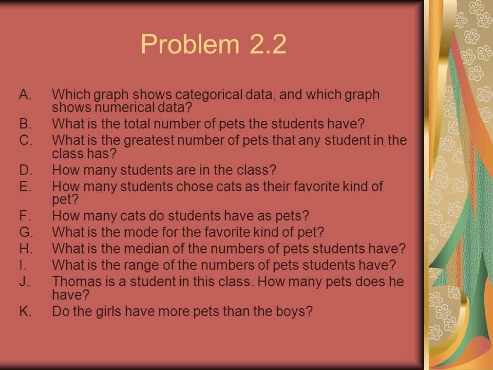 Problem 2.2 A.Which graph shows categorical data, and which graph shows numerical data.