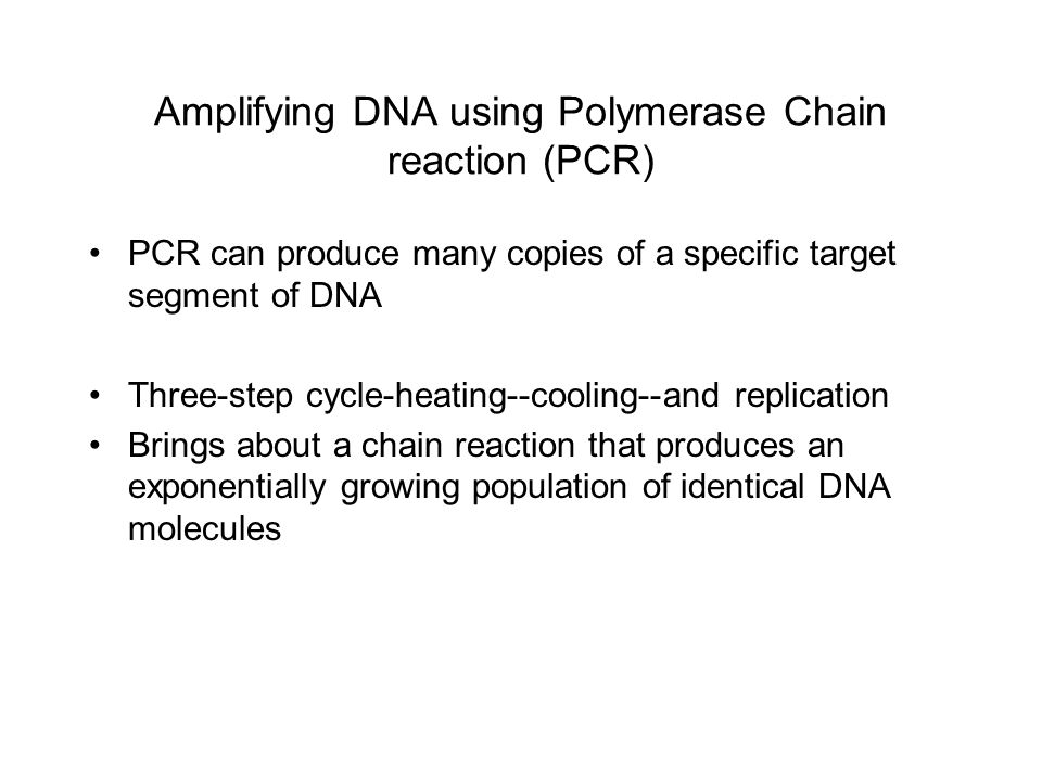 Amplifying DNA using Polymerase Chain reaction (PCR) PCR can produce many copies of a specific target segment of DNA Three-step cycle-heating--cooling