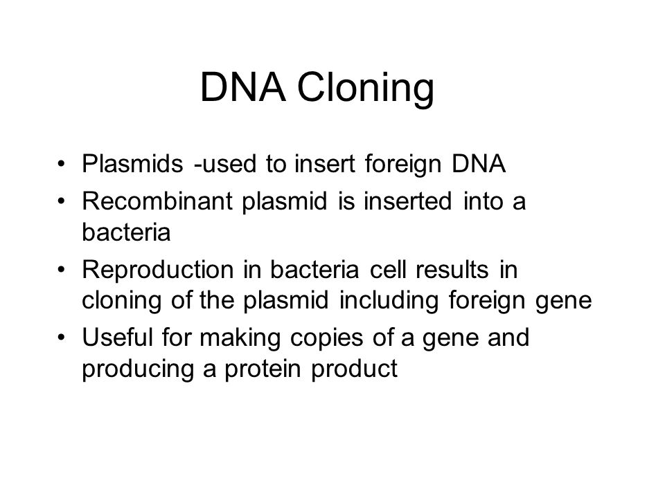 DNA Cloning Plasmids -used to insert foreign DNA Recombinant plasmid is inserted into a bacteria Reproduction in bacteria cell results in cloning of t