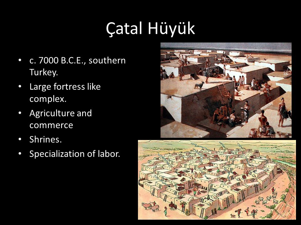 Çatal Hüyük c. 7000 B.C.E., southern Turkey. Large fortress like complex. Agriculture and commerce Shrines. Specialization of labor.