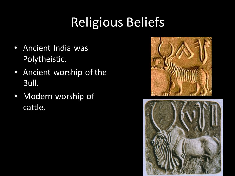 Religious Beliefs Ancient India was Polytheistic. Ancient worship of the Bull. Modern worship of cattle.