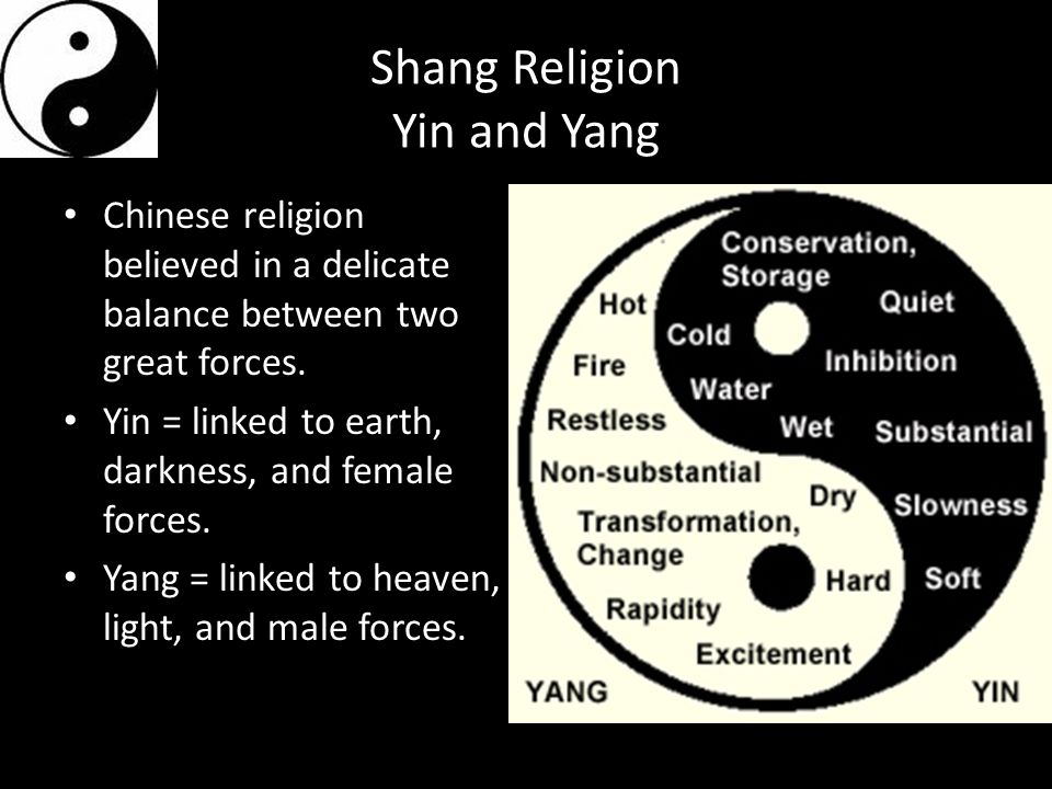 Shang Religion Yin and Yang Chinese religion believed in a delicate balance between two great forces. Yin = linked to earth, darkness, and female forc