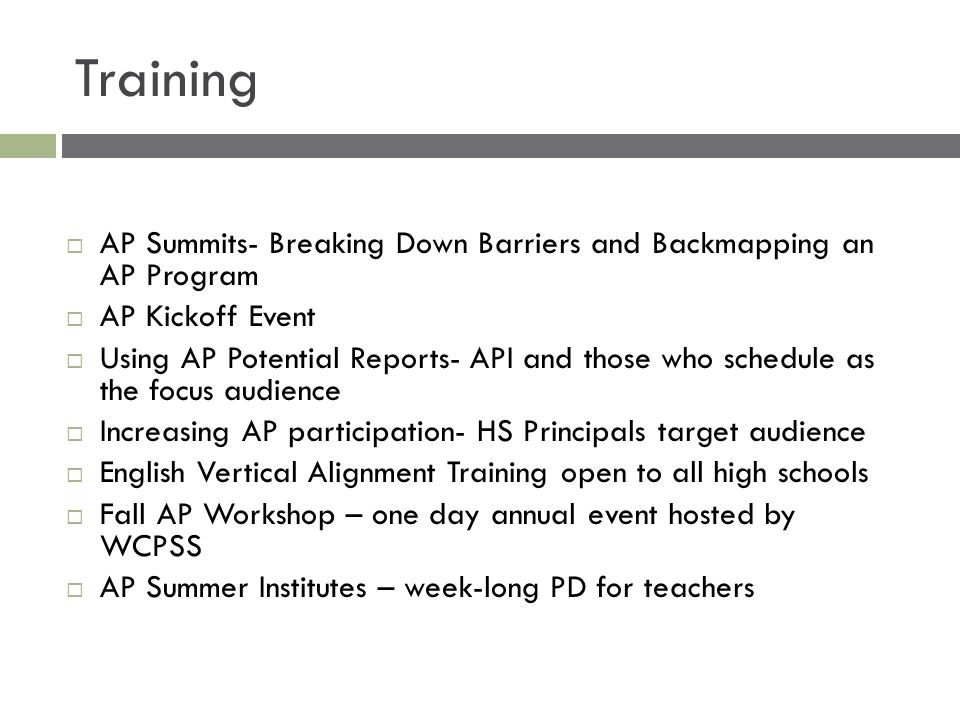 Training  AP Summits- Breaking Down Barriers and Backmapping an AP Program  AP Kickoff Event  Using AP Potential Reports- API and those who schedul