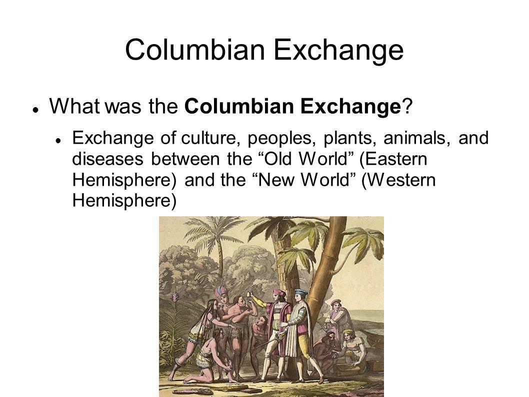 "Columbian Exchange What was the Columbian Exchange? Exchange of culture, peoples, plants, animals, and diseases between the ""Old World"" (Eastern Hemis"