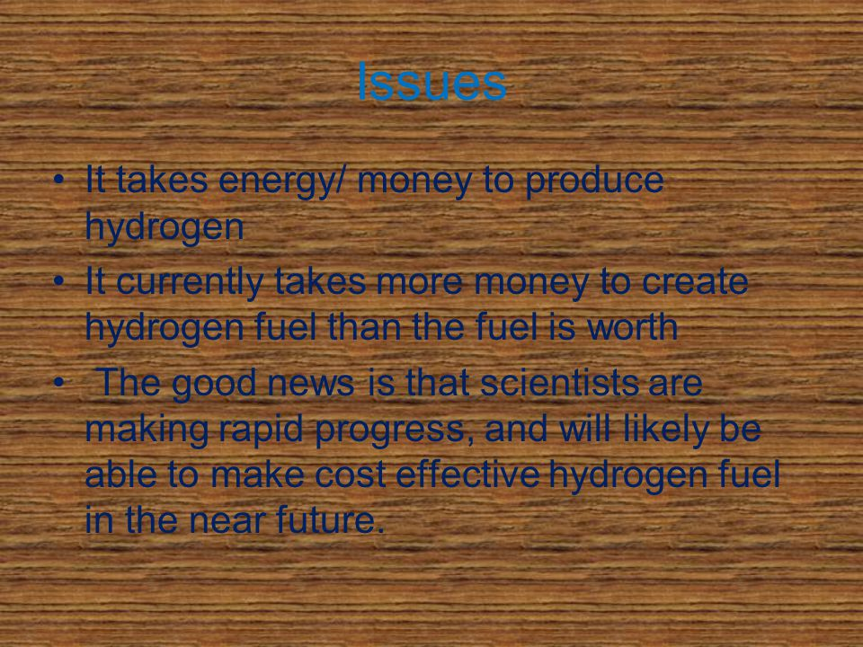 The future of hydrogen The first widespread use of hydrogen will probably be to combine it in small quantities with other fuels like gasoline and natural gas to reduce emissions and stretch reserves.