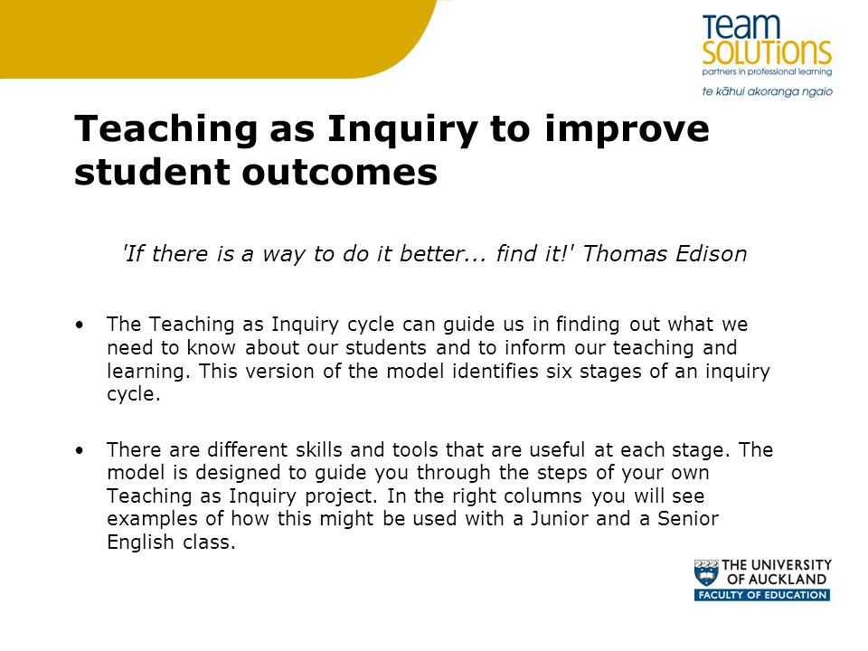 Teaching as Inquiry to improve student outcomes Activity Read the Teaching as Inquiry project planner provided and consider how you could use this to improve a specific group of students outcomes Share your ideas with the table Consider how you might use this support the appraisal cycle