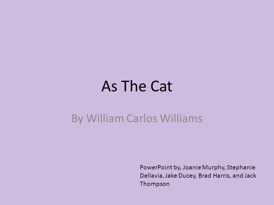 As The Cat By William Carlos Williams PowerPoint by, Joanie Murphy, Stephanie Dellavia, Jake Ducey, Brad Harris, and Jack Thompson