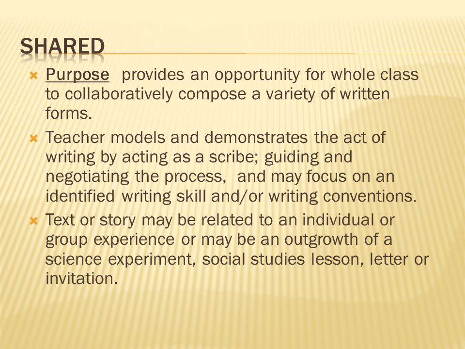  Purpose provides an opportunity for whole class to collaboratively compose a variety of written forms.