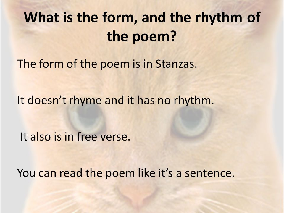 What is the form, and the rhythm of the poem? The form of the poem is in Stanzas. It doesn't rhyme and it has no rhythm. It also is in free verse. You