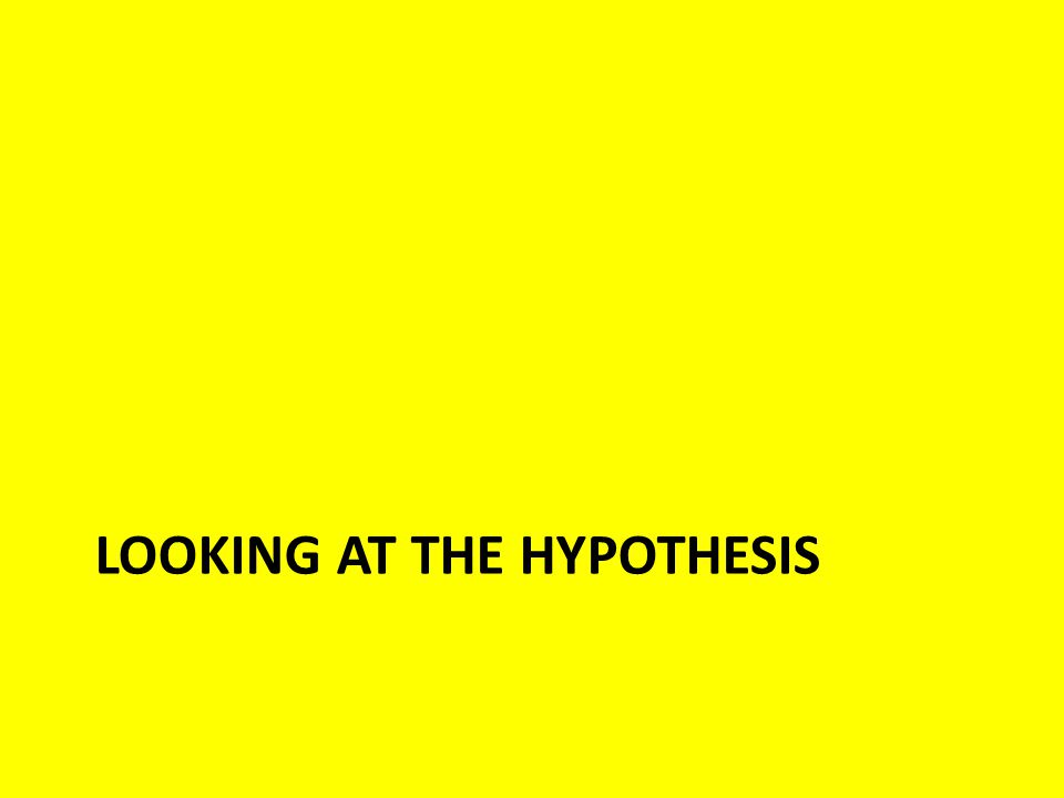 Looking at the Hypothesis What is the role of the hypothesis.